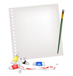 Artist brush and paint tubes on a blank page vector