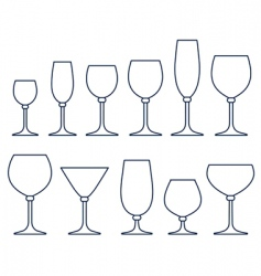 Alcoholic drink glasses vector