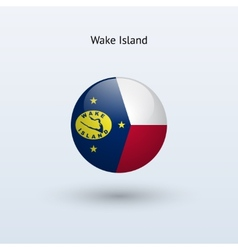 Wake island round flag vector