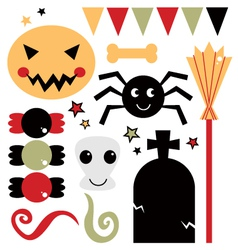 Beautiful cute halloween design elements vector