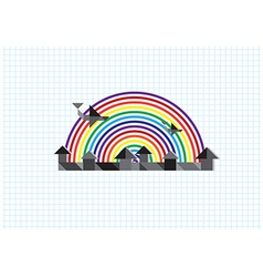 City rainbow airplane vector