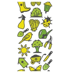 Seamless pattern of green garden tools vector