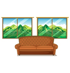 A sofa near the window vector