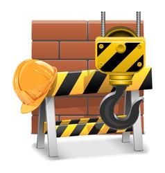 Under construction concept with bricks vector