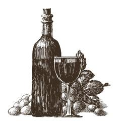 Wine bottle logo design template wineglass vector