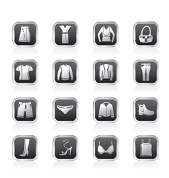 Clothing and dress icons vector