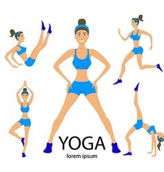 Yoga set women sketch asana girl exercises healthy vector