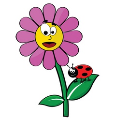 Flower and ladybug vector