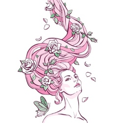 Maid and roses vector