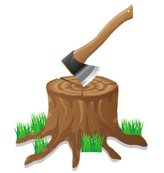 Axe in the stump vector