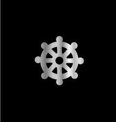 Wheel of dharma- symbol buddhism vector
