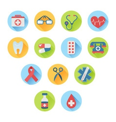 Colorful medical icon set in trendy flat style vector