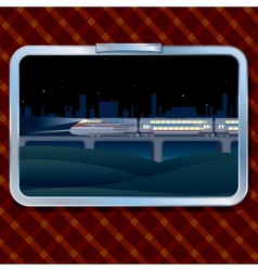 Night train and landscape vector