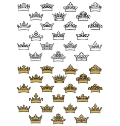 Antique crown icons vector
