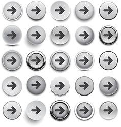 Round grey arrow icons vector