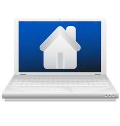 Laptop and house real estate concept vector