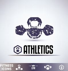 Gym icons fitness grunge emblems collection vector