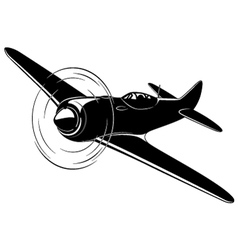 Old fighter airplane vector
