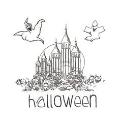 Halloween haunted house doodles vector