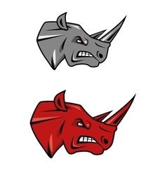 Angry rhino head mascot design vector