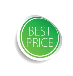 Sticker of best price green vector