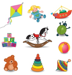 Toys set of eight color vector