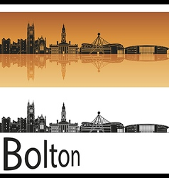 Bolton skyline in orange background vector