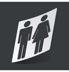 Monochrome man and woman sticker vector
