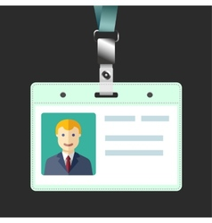 Blank id badge name tag holder with avatar vector