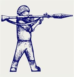 Mercenary shoot with a bazooka vector