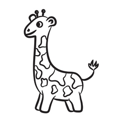 Giraffe black and white vector