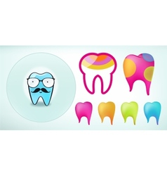 Set of funny colored teeth icons vector