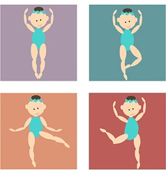 Set of colored icons cartoon girl in a bathing vector