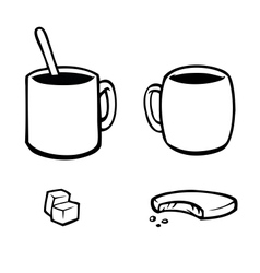 Set of black and white hot drink icons vector