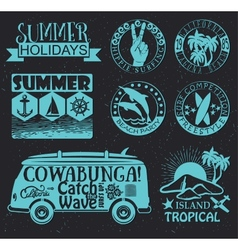 Retro elements for summer surfing designs vector
