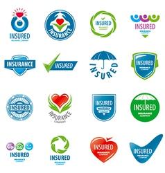 Large set of logos insurance vector