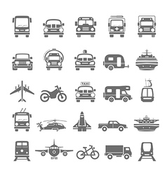 Black icons transportation vector