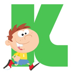 Letter k with a kid vector