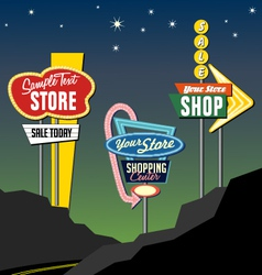 Retro roadside neon signs 2 vector