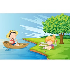 A boat with a boy and a girl studying at the vector