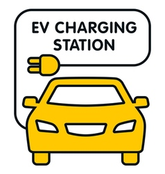 Ev charging station signboard with the yellow car vector