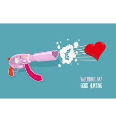 Arms of love gun shoots hearts valentines day good vector