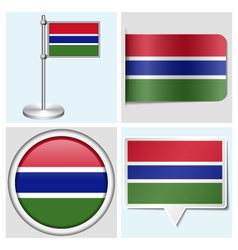 Gambia flag - sticker button label flagstaff vector