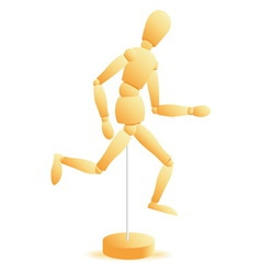 Wooden figure run vector