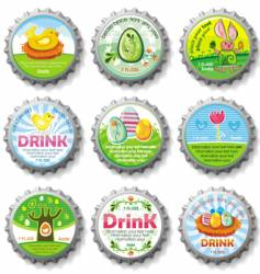 Easter bottle caps vector