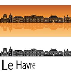 Le havre skyline in orange background vector