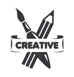 Logo brush and pencil for creativity vector