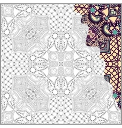 Unique coloring book square page for adults - vector