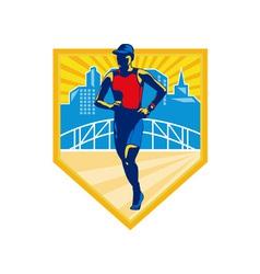 Triathlete marathon runner retro vector