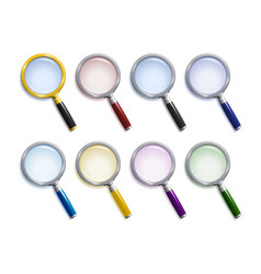 Set of colored magnifying glasses vector